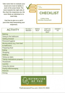 Activities of Daily Living Checklist