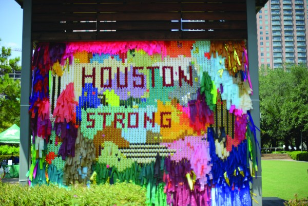 Artists installed this Houston exhibit post-Harvey. Photo by Megan Riley.
