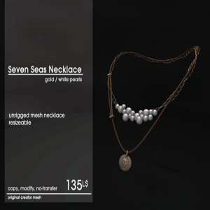 22769 ~ [accessories] Seven Seas Necklace Gold _ White Pearls [