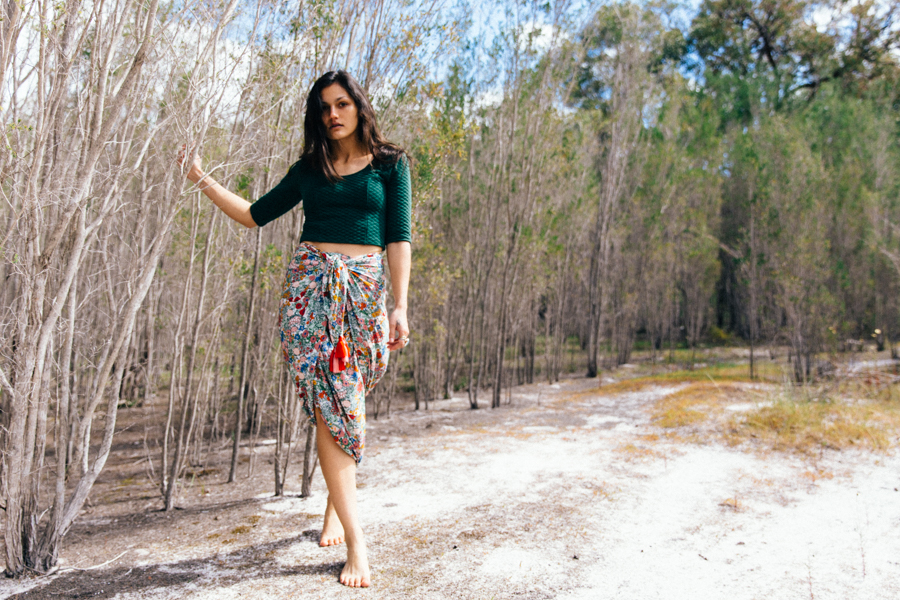 Vintage style floral print sarong from Blossom Days Collection - Bohemian Traders.