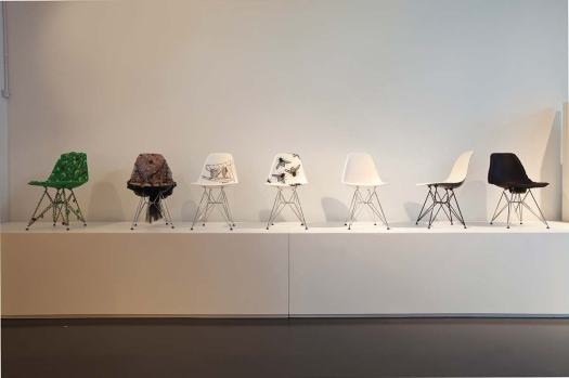 Eames chairs  with designs by  HONG KONG  artists