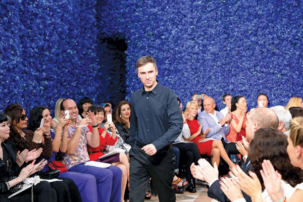 Raf Simons at his first Haute Couture show for Dior