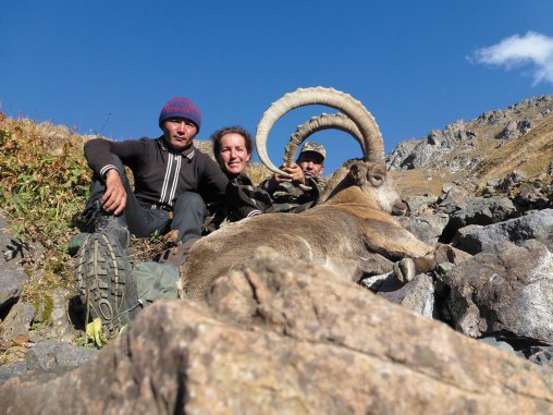 Marie-Pierre Zollikofer, a French trophy hunter, with an Ibex at the Kazakhstan Chinese border