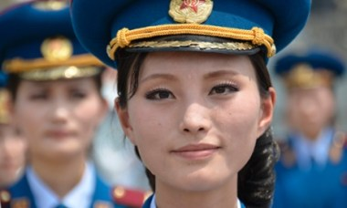 A musician from a North Korean military band during the opening ceremony of a new dock at the port of Rajin in July