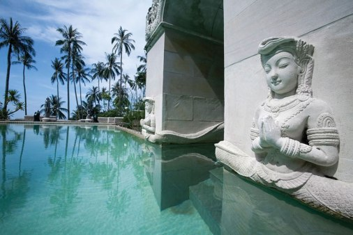 The naga decorated plunge pool at the Kamalaya Wellness spa and resort