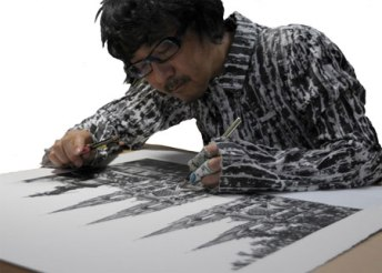 Ogawa at work in his studio