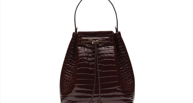 TheRow Crocodile Bucket in Cognac