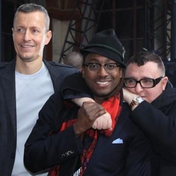 POST SHOW: Lucas Ossendrijver (left), Marcellous L. Jones (Center) & Alber Elbaz (Right).