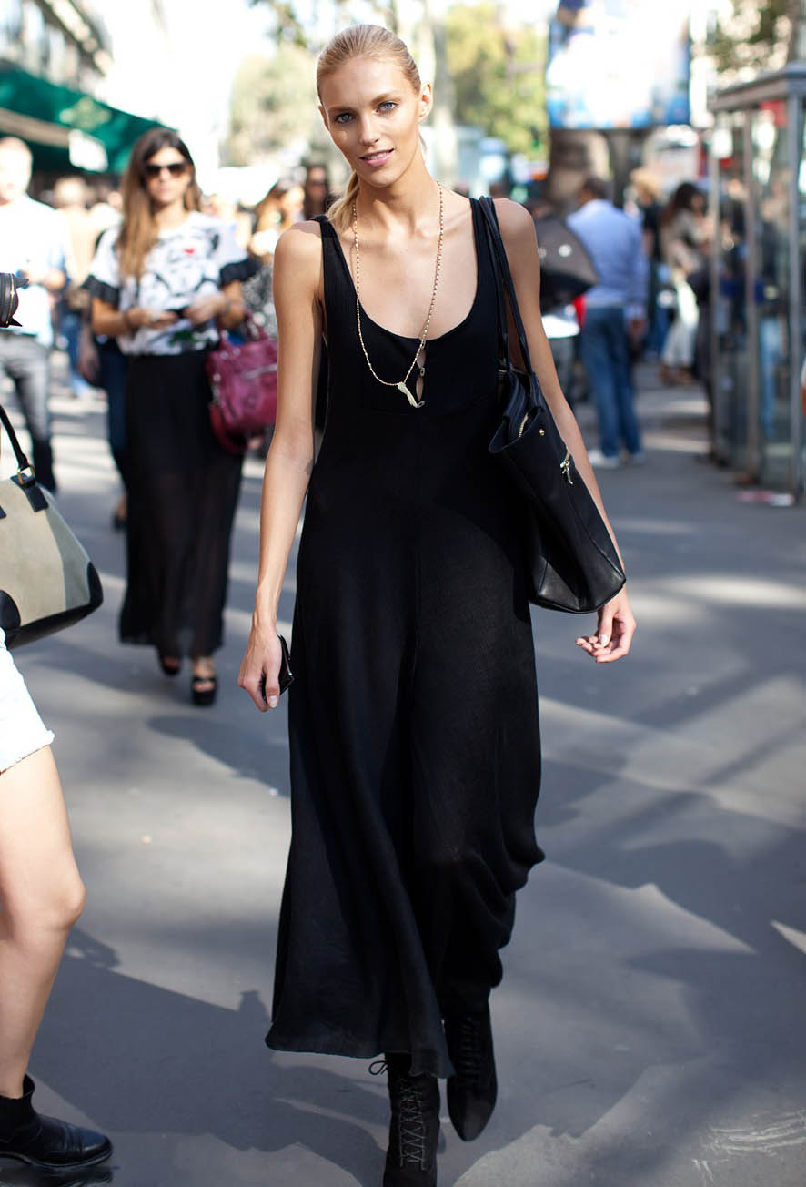 Street style 2013 summer black dress