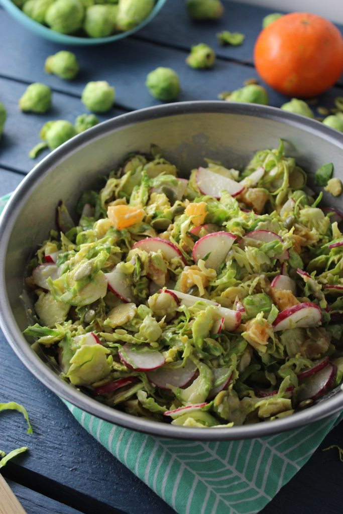 Brussels Sprouts Salad with Ginger Miso Dressing