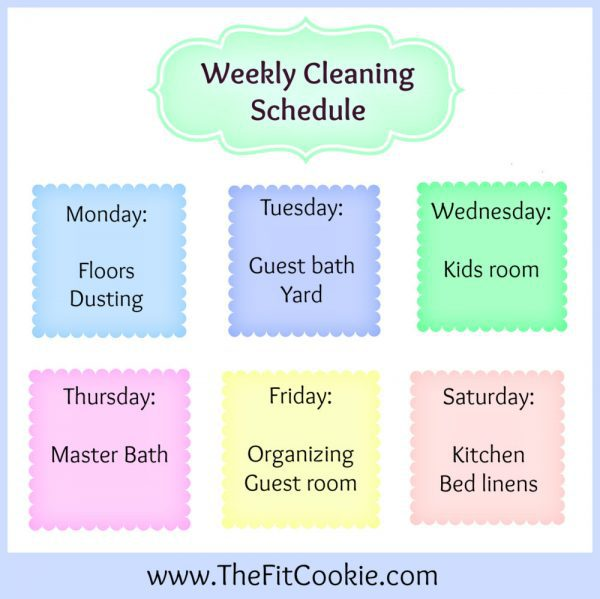 clenaing schedule Archives \u2022 The Fit Cookie - housework schedule