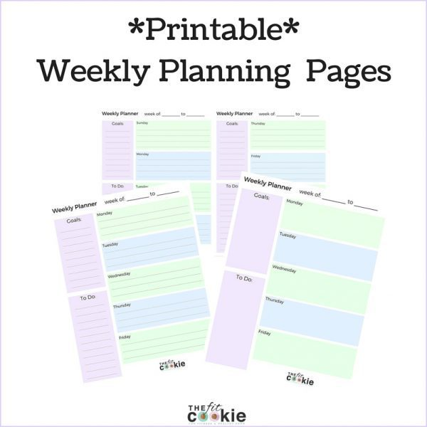 Printable Weekly Planner Pages \u2022 The Fit Cookie - Free Printable Weekly Planner