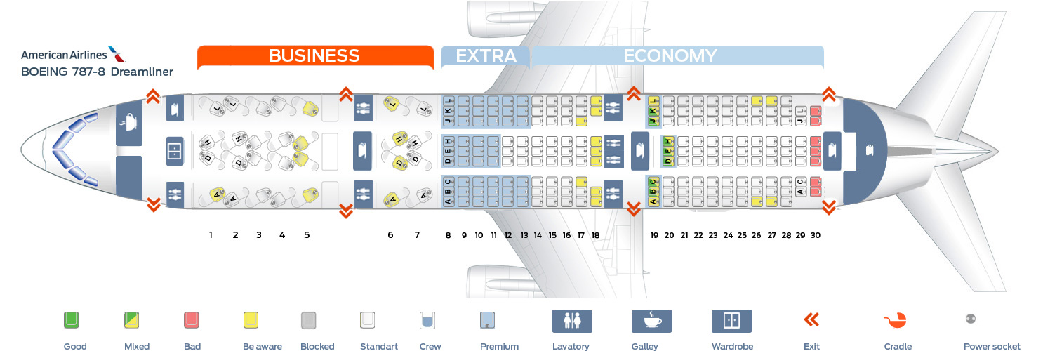 Seat map Boeing 787-8 American Airlines Best seats in the plane