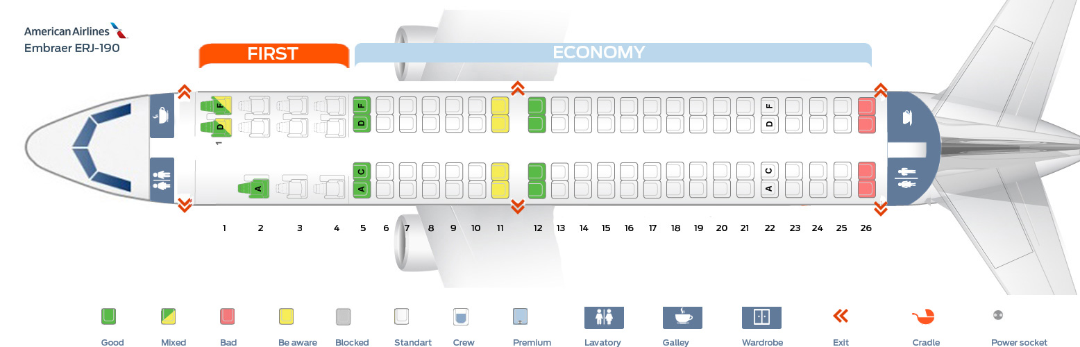 Seat map Embraer ERJ-190 American Airlines Best seats in the plane
