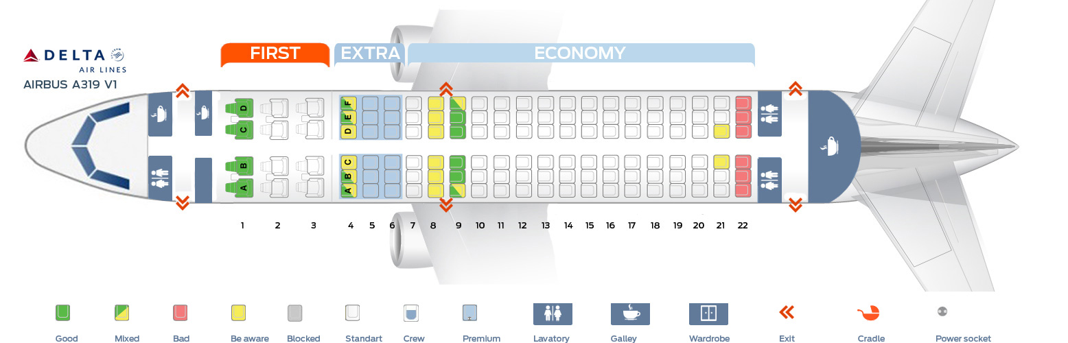 Seat map Airbus A319-100 Delta Airlines Best seats in plane