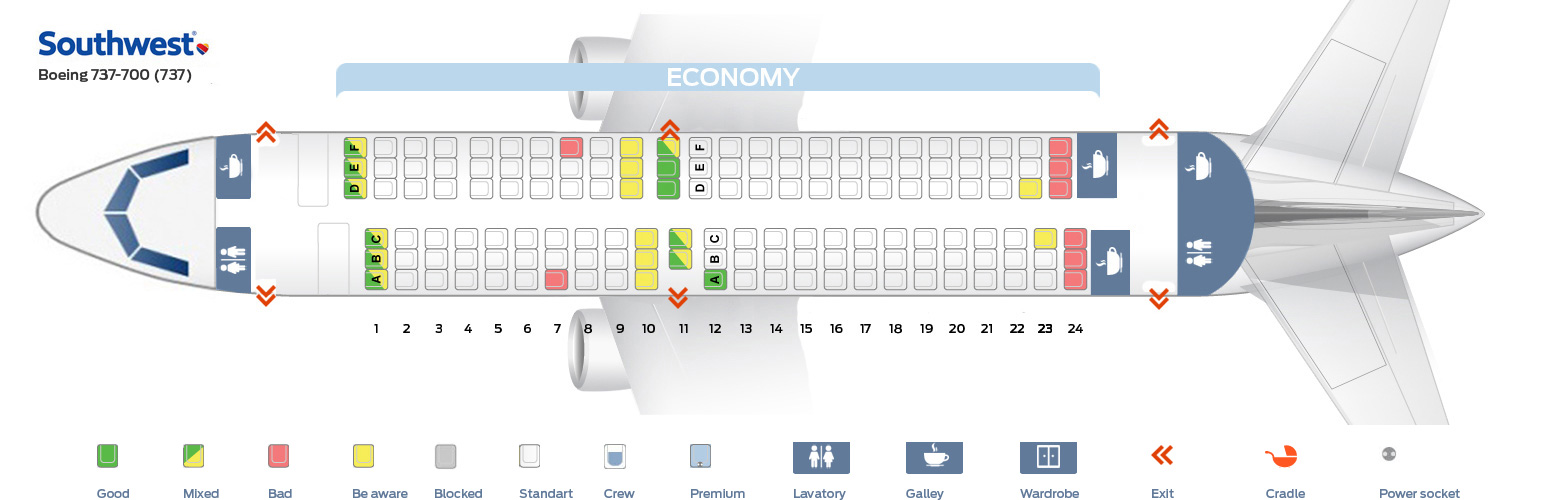 Seat map Boeing 737-700 Southwest Airlines Best seats in plane