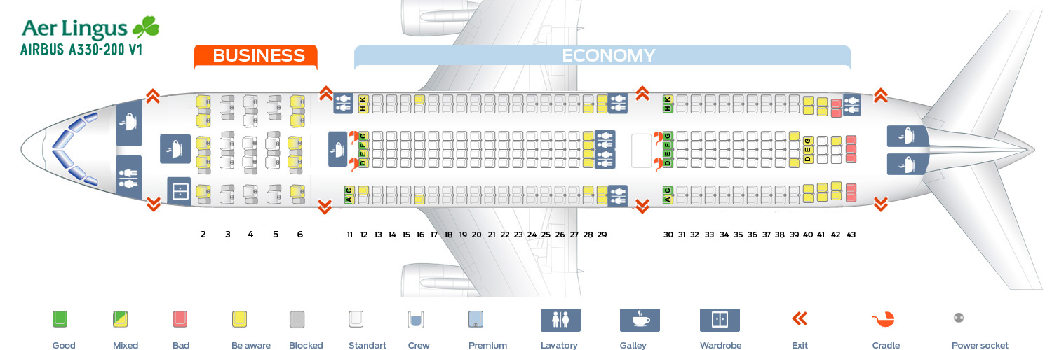 Seat Map Airbus A330 200 Aer Lingus Best Seats In Plane