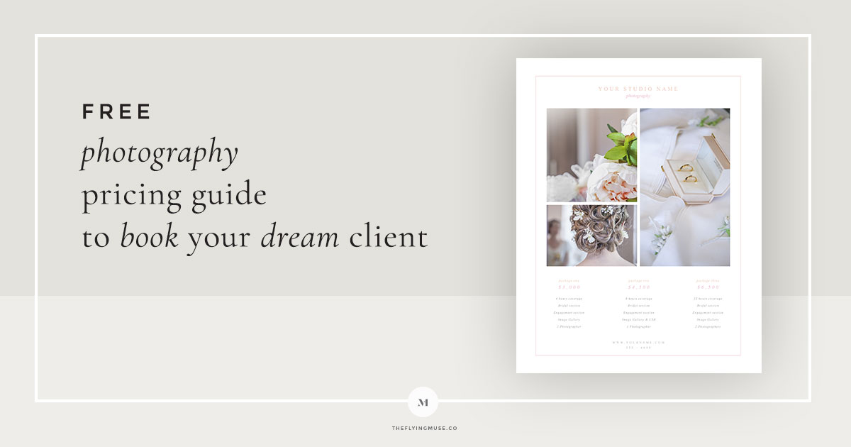 Free Pricing Guide Template Design for Wedding Photographers - the