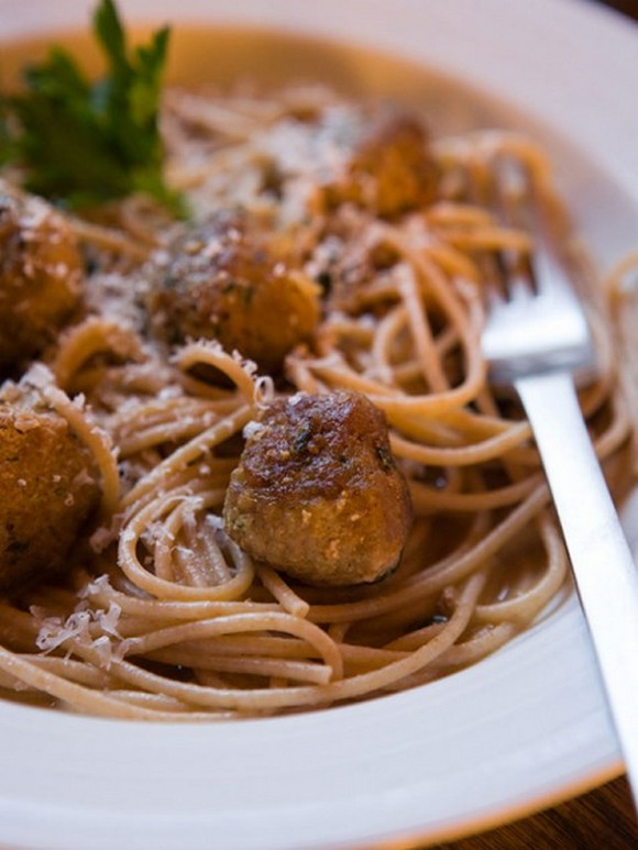 Turkey Meatballs in Broth Over Whole Wheat Pasta recipe
