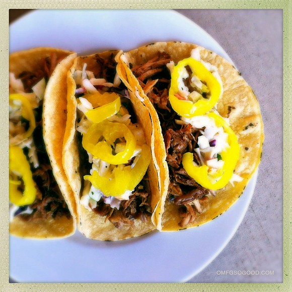 Slow Cooker BBQ Pork Tacos with Apple Slaw recipe photo