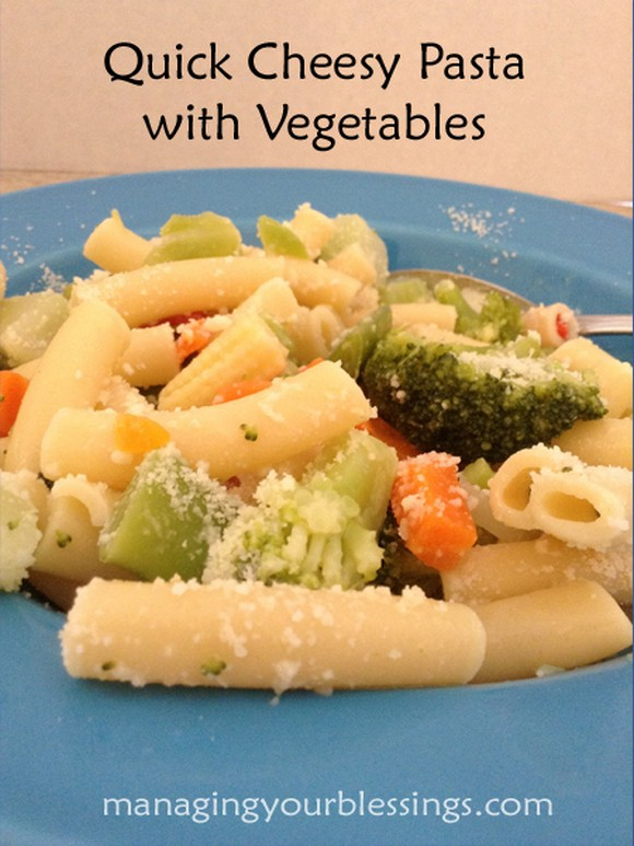 Allergy Friendly Quick Cheesy Pasta with Vegetables recipe photo