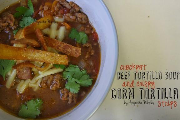 Crock Pot Beef Tortilla Soup with Crispy Tortilla Strips recipe photo