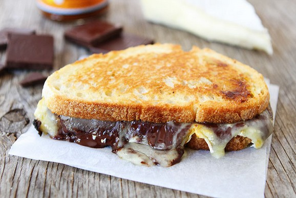 Pumpkin, Chocolate, and Brie Grilled Cheese Sandwich recipe photo