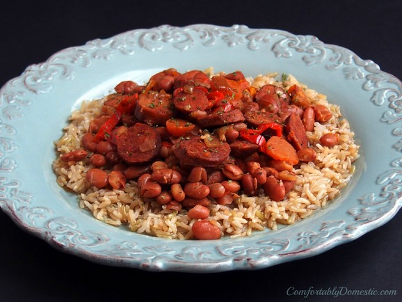 Slow Cooker Chicken Andouille Beans and Rice recipe photo