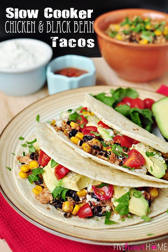 Slow Cooker Chicken & Black Bean Tacos recipe photo