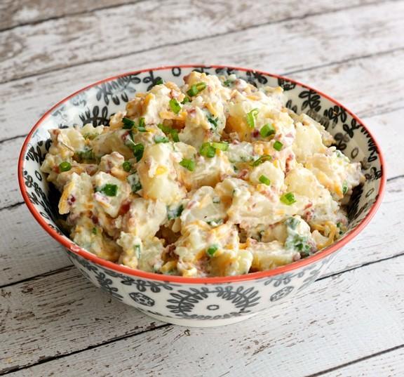 Creamy Bacon Cheddar Loaded Baked Potato Salad recipe