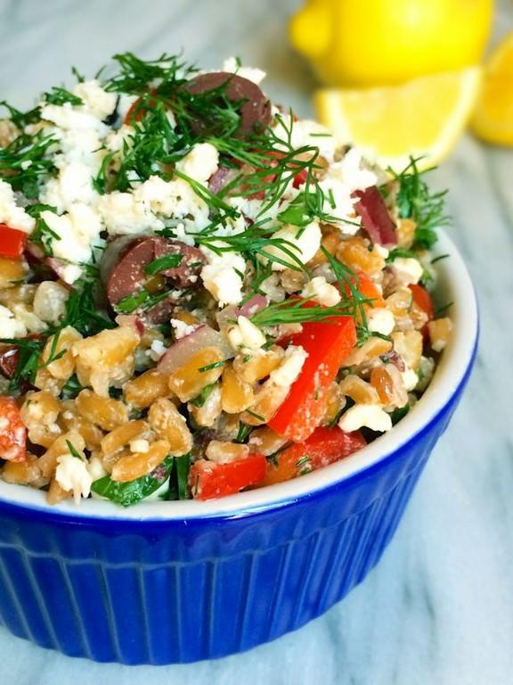 Farro Greek Salad with Feta and Dill recipe