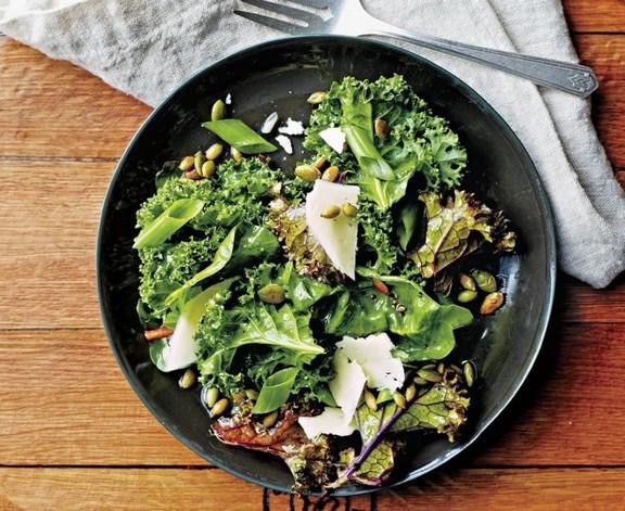 Lemon Kale and Swiss Chard Salad recipe
