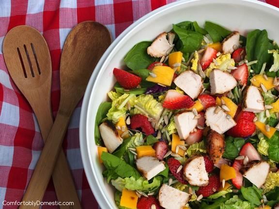 Summer Strawberry Mango Salad with Strawberry Poppyseed Vinaigrette recipe