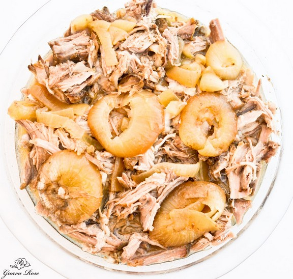 Crock Pot Kalua Pig on a Rack of Onions recipe by Guava Rose