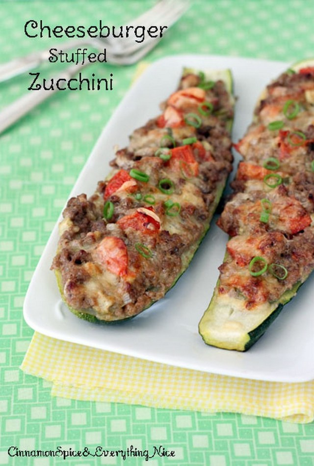 Cheeseburger Stuffed Zucchini Boats
