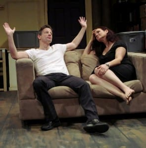 "Joe Casey (L) as a soft-core porn filmmaker and Steph Van Vlack (R) as his ex-babysitter in In ""Allen Wilder 2.0,"" written and directed by Matt Morillo, presented by Theater for the New City January 7 to 31, 2016. Photo by Jonathan Slaff."