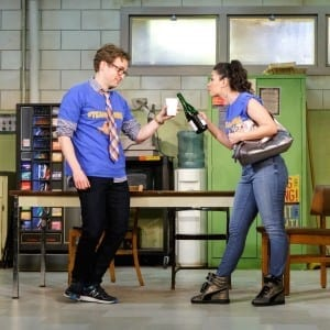 "Ryan Spahn (Ricky) & Christina Nieves (Jania) in Ike Holter's ""Exit Strategy"" at The Cherry Lane Theater"