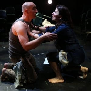 L-R: Tony Naumovski and Antoinette LaVecchia in Conor McPherson's THE BIRDS, directed by Stefan Dzeparoski, at 59E59 Theaters. Photo by Carol Rosegg