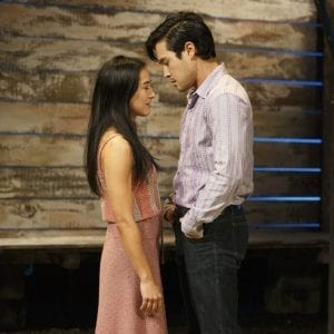 "L-R Jennifer Ikeda as 'Tong' & Raymond Lee as 'Quang' in ""Vietgone"" by Qui Nguyen at MTC. Photo by Carol Rosegg."