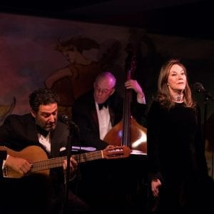 John Pizzarelli, Jay Leonhart and Jessica Molaskey at the Café Carlyle; Photo by David Andrako