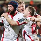 Dan Tuohy and Darren Cave step up for Ulster in their win against Scarlets.  Photo Darren Kidd PressEye.