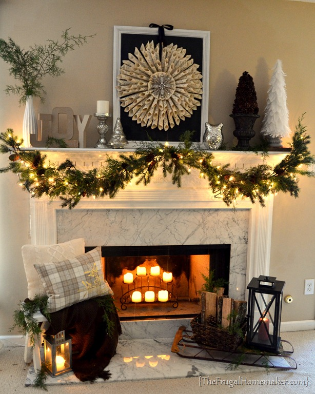 Neutral + Vintage Christmas mantel - christmas mantel decor
