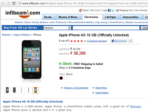 Samsung Galaxy Tab iPhone 4 cost in India iPhone 4 infibeam Apple Iphone