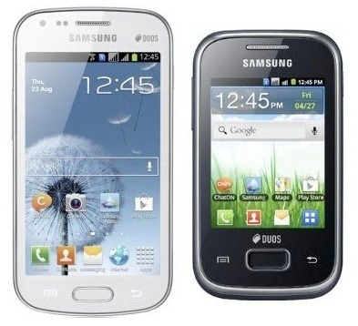 Samsung phones Galaxy Y Duos Lite Galaxy S Duos dual sim phones