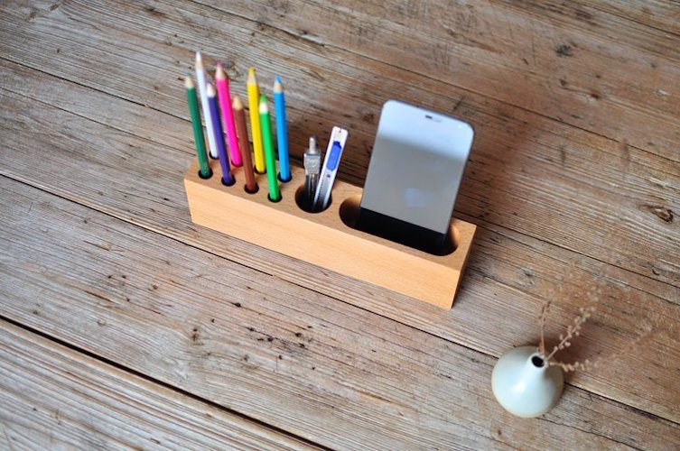 Wood Phone Holder Pen Container Gadget Flow