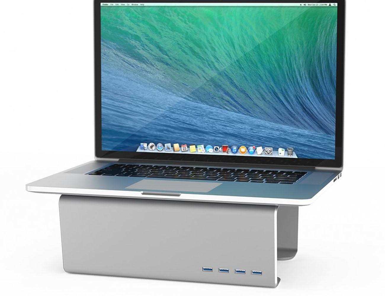 Premium Aluminum Monitor Stand And Four Port Usb 30 Hub