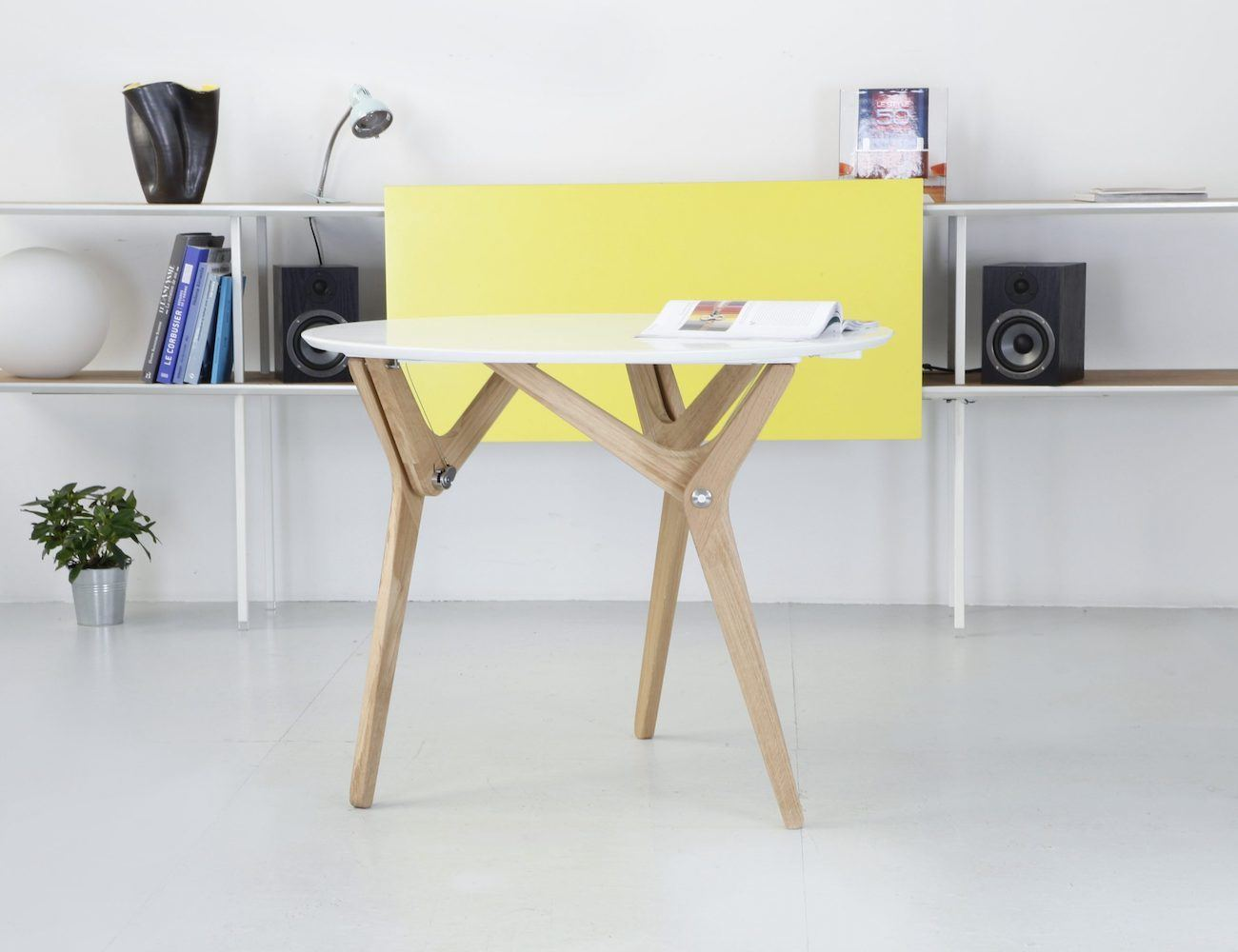 Table Metal Blanc Boulon Blanc Transformable Table