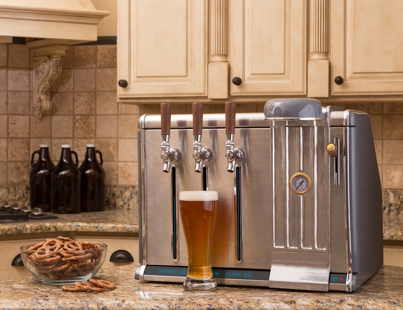 Countertop Beer Cooler And Tap Growler Chill Refrigerated Counter Tap Gadget Flow