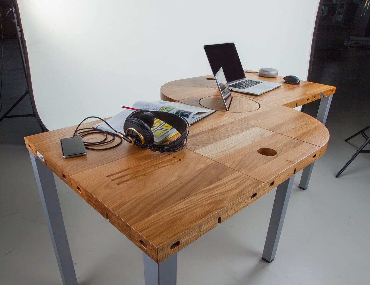 Workstation Furniture Modulos Adjustable Modular Desk Gadget Flow