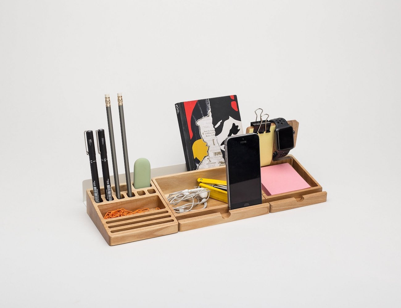 Desk Organizer Wood Wooden Desk Organizer Set Has Three Wooden Blocks For Easy